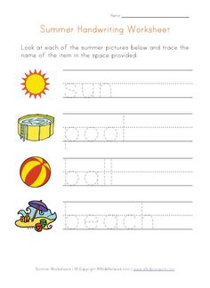 Summer Themed Handwriting Worksheet for Kids