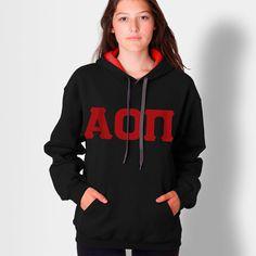Alpha Omicron Pi Contrast Hoody with Flock $32.95 #Greek #Sorority #Clothing #AOPi #AlphaOmicronPi #AOII