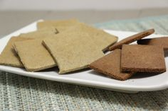 Sunflower Seed Graham Crackers (Grain-Free, Paleo, dairy-free, nut-free). Grain-free crackers that are close to the original graham crackers. My favorite way to eat graham crackers was slathered in butter. Now I can do this again with these crackers! One version WITH eggs and one Egg-FREE.