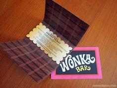 Wonka golden ticket birthday invitations (free printable from Draw! Pilgrim)