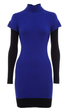 Karen Millen Roll neck Colourblock tunic Blue and Black ,fashion karen millen outlet