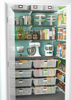 that's an organized pantry. it's even a pretty color!