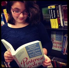 Libby looking at Pinterest Power at Barnes & Noble...