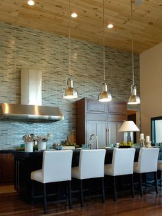 Amazing glass tile wall. Kitchens.