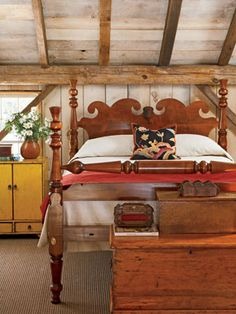 Cottage or log, very versatile  A bed frame can be as personalized as a shade of paint and linen pattern. A finished wooden headboard and carefully sculpted bedposts set the tone for an interior. Here, a Nantucket Thistle headboard is the heart and soul of the bedroom and is rich with folk sensibility and character.