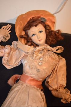 "Old Boudoir Cloth Doll Unusual Fancy French Bed Doll from oldeclectics on Ruby Lane...""Ha-a-ay...!"""