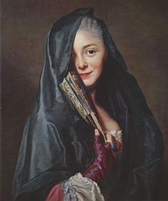 'Damen med slöjan' ('The Veiled Woman' or 'Lady with a Veil') (1768) by Alexander Roslin (1718-1793). Oil on canvas. 65 x 54 cm (25.6 x 21.3 in). Location: Nationalmuseum, Stockholm, Sweden. More: http://tinyurl.com/7pjwo34 // Notes: Sitter was Roslin's partner and fellow artist, Marie-Suzanne Giroust. Giroust died of breast cancer at age 38, four years after this portrait was painted. Bio: http://tinyurl.com/8y9vsod // Found by @RandomMagicTour (http://tinyurl.com/3vn27et) - Sasha Soren