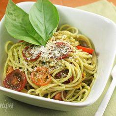weight watcher, pasta recip, spaghetti, food, skinni tast, scape pesto, garlic scape, eat, tomatoes
