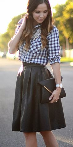 Leather Diamond Pleated Skirt with Checkered Shirt @Pascale Lemay Lemay De Groof