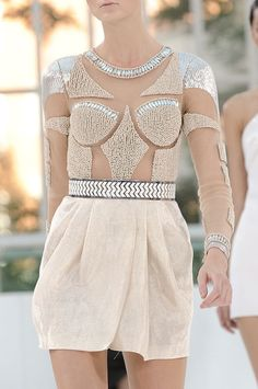 #embellished #sequins #sheer #sparkle #runway #fashionshow #hautecouture #glamorous #dress #closeup #details #fashion #model #glam #minidress #cocktaildress #cream #blingbling #couture