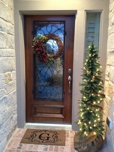 front door entrance, the doors, christmas front doors, holiday entryway, trees, holidays, entryway inspir, holiday decor, front porches