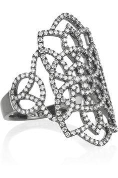 Diane Kordas  Arabesque 18-karat blackened gold diamond ring