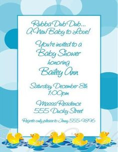 Rubber Duck Ducky Baby Shower 1st Birthday Personalized Invitations