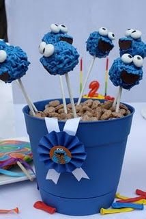 Cookie Monster Cake Pops-Sesame Street birthday parti, cookie monster, cooki monster, birthday stuff, birthday idea, cake pops, rainbow birthday, cakepop, monster cakes