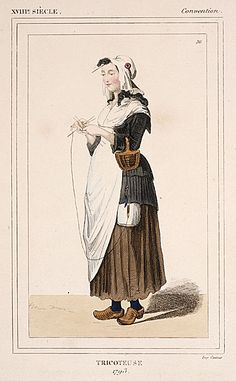Costume Plate (Tricoteuse 1793), 19th century. Hand-colored engraving on paper.