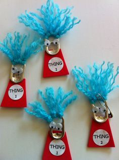 Thing 1 and Thing 2 soda can top.  Dr Seuss.