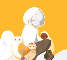 girl and her owls by mintchoco