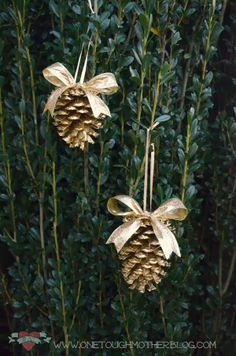 One Tough Mother: Simple DIY Gold Pinecone Ornaments