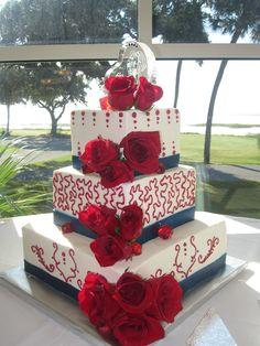 Marine Corps wedding cake - red white and blue