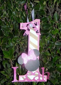 Minnie Mouse Zebra Print Door Sign - Hot Pink. $12.00, via Etsy.
