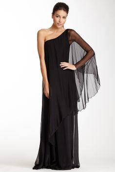 One Shoulder Silk Gown//