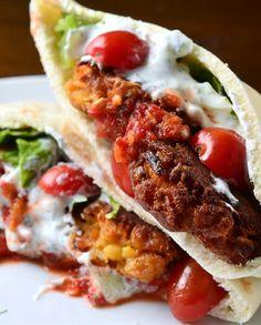 Falafel Pita Sandwich Recipe #vegetarian