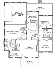 Here is the #floorplan to the Guilford Cottage House Plan 9017 featuring just under 1,900 sq. ft.  It's a great design for a narrow lot that needs a rear, side load garage. To discuss modifications to this home, please call our home plan specialist at 866-214-2242. http://www.thehousedesigners.com/plan/guilford-cottage-9017/