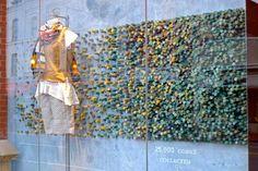 stunning cork relief sculpture in an anthropologie window