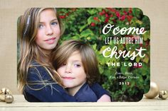 Let Us Adore Christmas Photo Cards by Moglea | Minted
