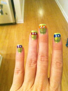 "Teenage Mutant Ninja Turtle nails.  I guess the thumb would have to be painted like ""Splinter""."