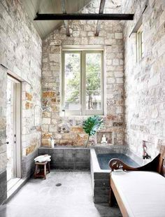 And this bath is so spacious and sexy. Can't think of another way to describe the texture of stone and light.