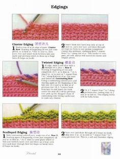 Edgings  crocheting school - very comprehensive crochet stitch picture tutorial