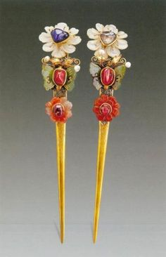 Two hair pins made for a wedding, unearthed from a Ming Dynasty tomb.