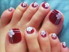 Blue and White Flower Cute Toe nail Designs