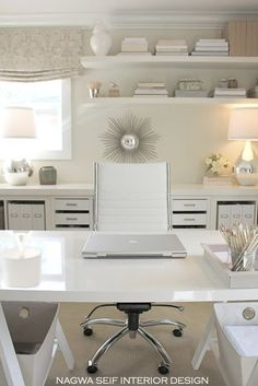 shelves/floorplan---Chic contemporary home office by Nagwa Seif Interior Design