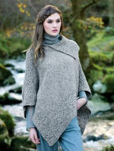Cable knit poncho, cable poncho, women   Aran Sweater Market