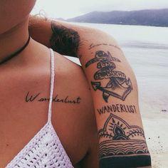 wanderlust tattoo, tattoo fonts, feminine tattoos
