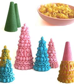 Handmade vintage inspired craft tutorial by ismoyo: pasta Christmas trees  (Pattern trees!)
