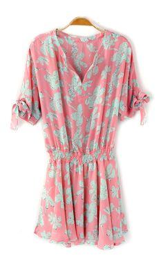 Sweet V-neck Short Sleeves Pleating Chiffon Floral Dress