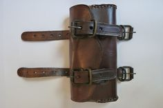 Tool Roll Bobber Harley Motorcycle Leather Saddle bag brooks brown | eBay