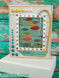 Xyron & Perfect Paper Crafting Blog Hop - Fish You Were Here Sequin Shaker Card #Xyron #PerfectLayers #Joyslifestamps #Sequin #ShakerCard