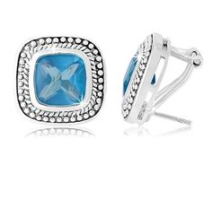 $29.99 - 9 Carat TGW Aquamarine Square Earrings in Sterling Silver