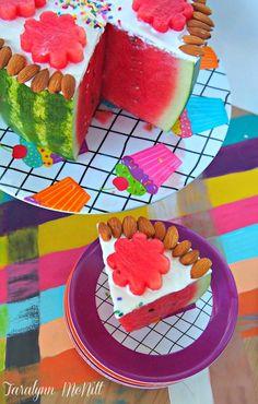 Watermelon Cake W/Greek Yogurt Frosting! this is GENIUS and beautiful... my kind of birthday cake