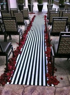 Wedding Black and White Stripe Aisle Runner with red rose petals