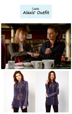 "On the blog: Alexis Castle (Molly Quinn) lace denim shirt | Castle - ""Law & Boarder"" (Ep. 621) #tvstyle #tvfashion #outfits #fashion"