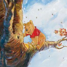 """Out on a Limb"" by Jim Salvati - Limited Edition of 95 on Hand-Embellished Canvas, 15x15.  #Disney #WinnieThePooh #DisneyFineArt #JimSalvati"