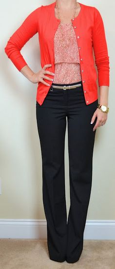outfit post: red floral tiered camisole, red cardigan, black 'editor' pants   Outfit Posts Dynamic