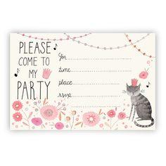 Invitation anniversaire fille - Kitty Party Invitation printable download
