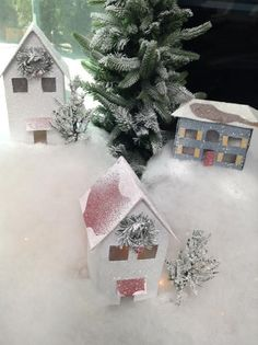 @kennethwingard creates a beautiful snowy landscape that can be displayed in a bay window, on a mantle, or on a dining room table! #christmaskeepsake #christmas #snow #village #homeandfamily #homeandfamilytv