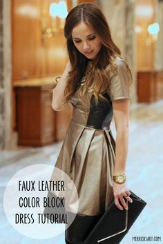 Faux Leather Color Blocked Dress Tutorial